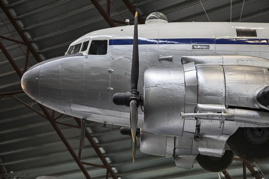DC-3 aircraft on display in the Cold War Hangar, Cosford RAF Museum